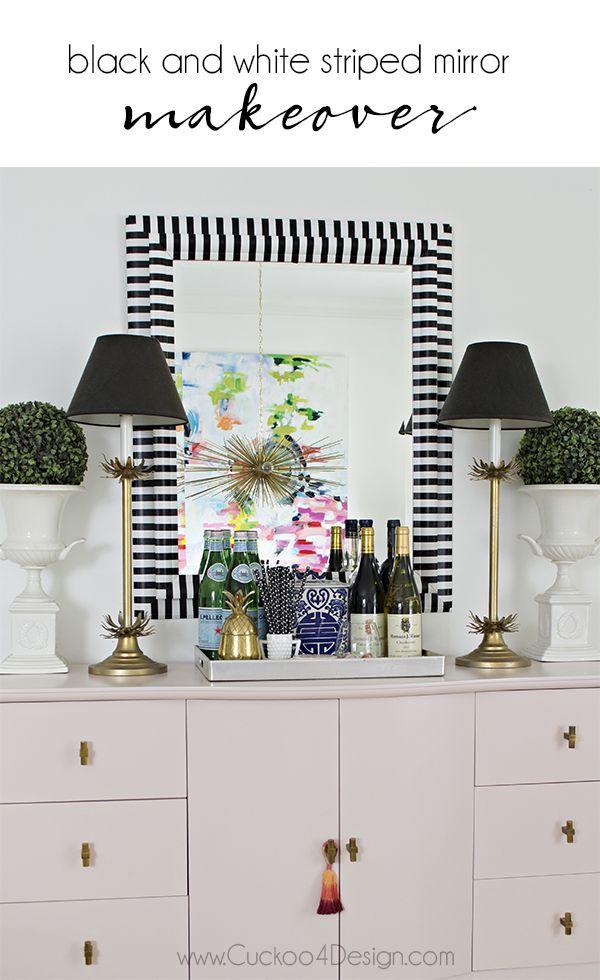 Black and white striped mirror makeover - Cuckoo4Design