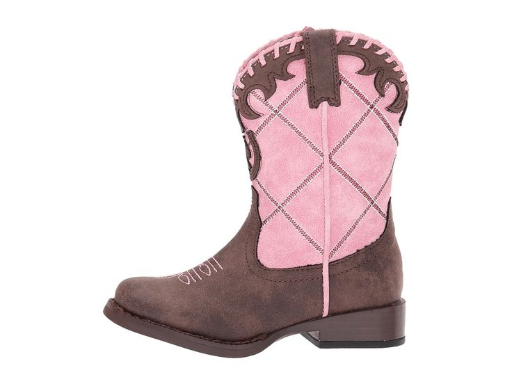 Roper Kids Lacy (Toddler) Cowboy Boots Brown Faux Leather Vamp Pink Shaft