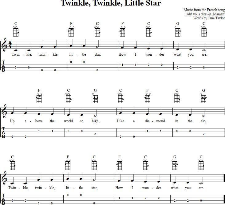 Twinkle, Twinkle, Little Star Ukulele : Music : Pinterest : Ukulele, Twinkle twinkle and Stars