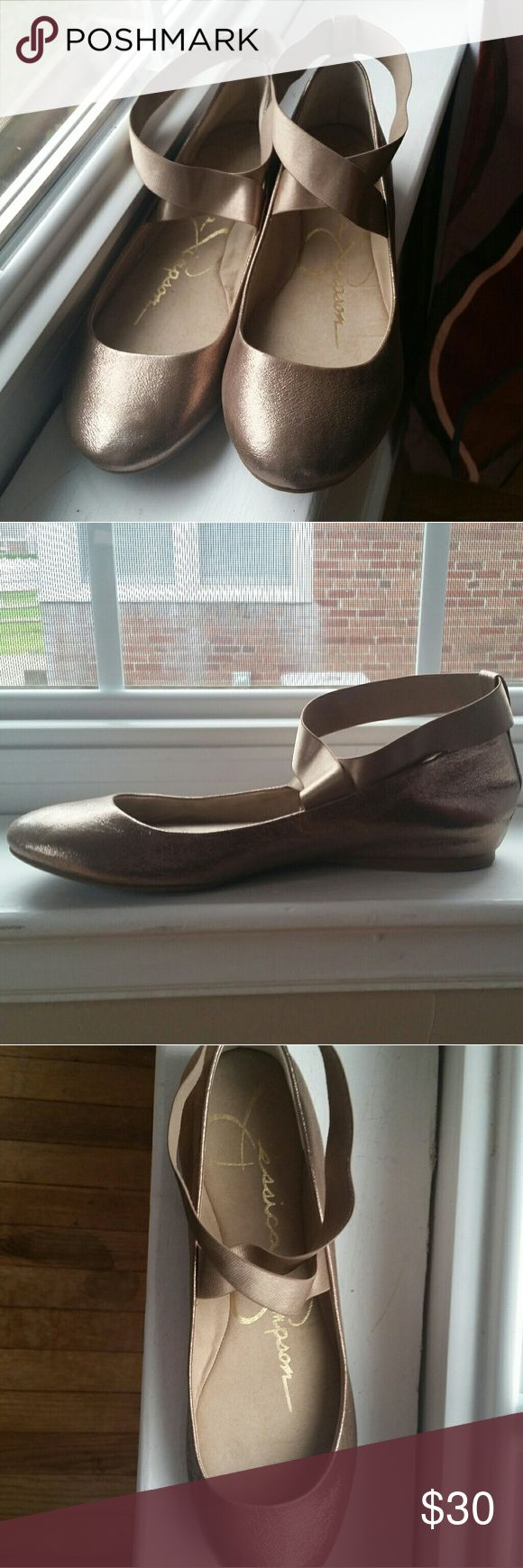 Jessica Simpson Mandayss Ballet Flats These gold Jessica Simpson ballet flats were worn once. The strap around the ankle is elastic. No scuffs or stains. **Feel free to make an offer! Jessica Simpson Shoes Flats & Loafers