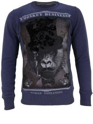 Φούτερ μπλούζα με λαιμόκοψη και τύπωμα φλόκο MONKEY BUSINESS. Regular fit , 60% pol 40% cotton. Ελληνικής κατασκεής. Τιμή: 19.95 €