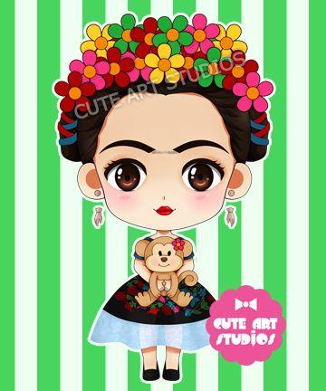 Frida Kahlo chibi vrsn by crowndolls