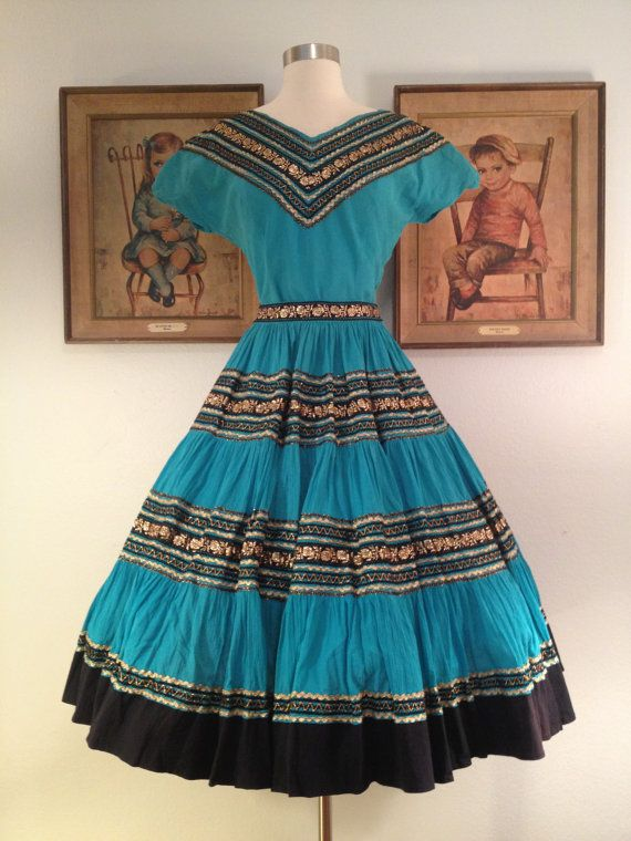 1950s Fabulous Turquoise 2 Piece Squaw Patio Dress  Black And Gold Ric Rac  Trim
