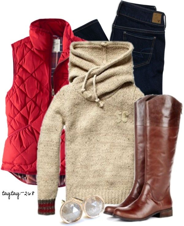 Cozy winter outfit... Is need uggs and leggings instead... Then its perfect.