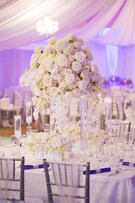 Stunning white centerpieces | Aislinn Kate Photography | www.theknot.com