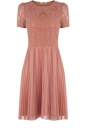 21a96580a This pleated skirt dress has a lace top and short sleeves. In a stretch  fabric, this is a great day to night dress.   flirting with fashion    Fashion, ...