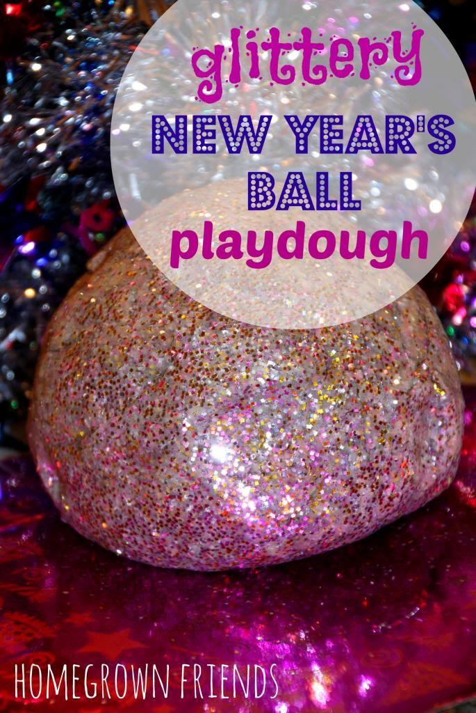 Glittery New Year's Eve Ball Playdough (Homegrown Friends)