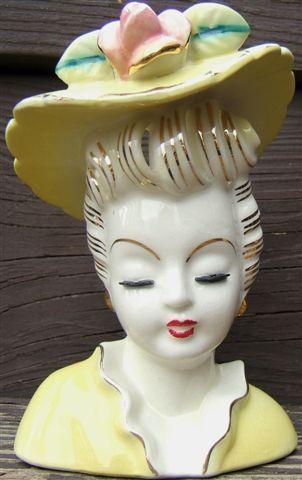 $279 lefton-hat-lady-headvase-planter-with-pink-flower-gold-trim-japan-1940s-vintage Vintage LEFTON LADY HEADVASE PLANTER with HAT and FLOWER. GOLD TRIM. Japan. Manufacturer - The LEFTON'S JAPAN foil label is affixed to the bottom of the headvase.