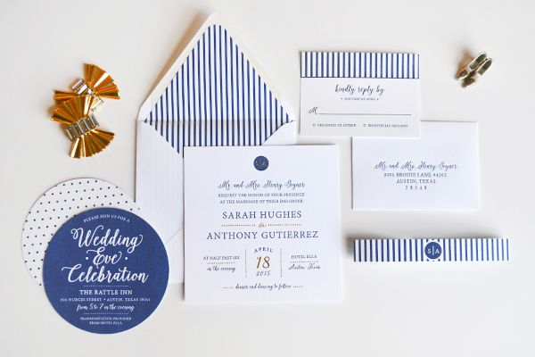 Oh So Beautiful Paper: Sarah + Anthony's Preppy Chic Wedding Invitations