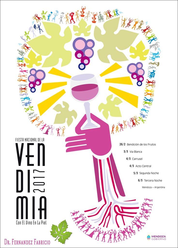Afiches Vendimia 2017. Mendoza de fiesta y con el vino en la piel