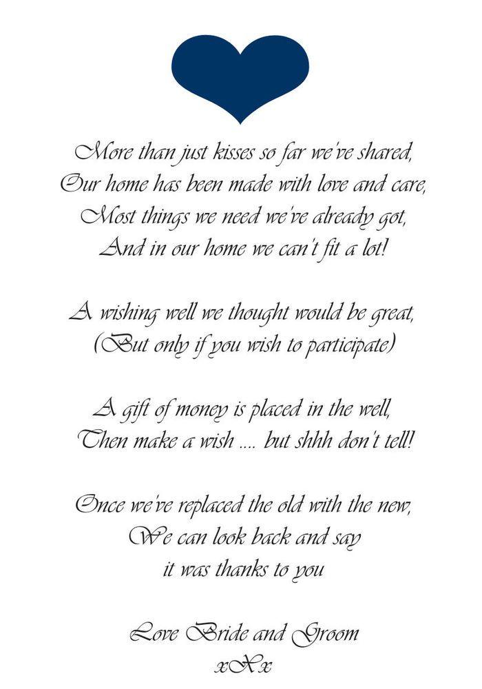 50 X WEDDING MONEY POEM CARDS - SMALL HEART PO#ANV1