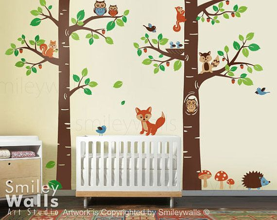 Forest Wall Decal, Forest Animals Wall Decal Tree Trees Forest Dwellers, Kids Nursery  – Babyzimmer Ideen