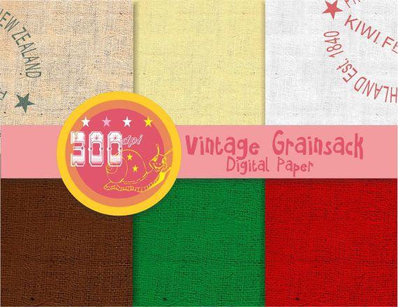 Christmas Burlap digital paper 'Vintage grain sack' burlap by GemmedSnail, $2.40