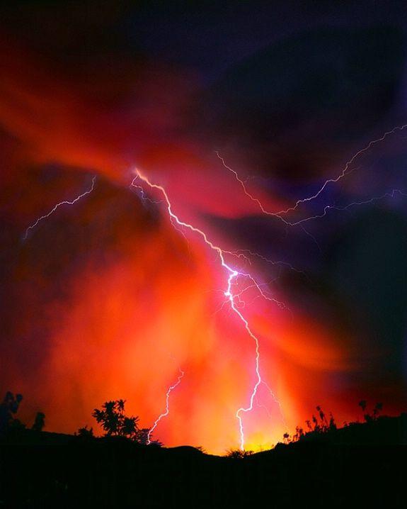 lightning and sunset