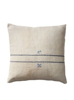 56% OFF Vintage Hungarian Seed Bag Fabric Pillow, Blue