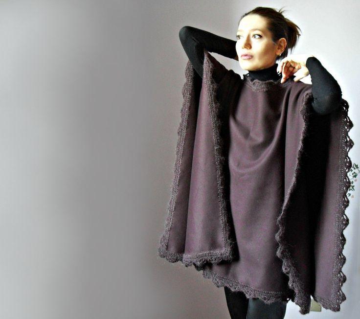 Crochetted Poncho, Coat - Burgundy, Red Wine - Fashion Design - Women - Cape, Jacket - Handmade Italian Mohair. $328.00, via Etsy.