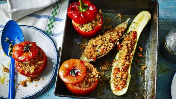 When we were filming in Greece, stuffed vegetables was our favourite dish. It all stemmed from a brief lunch stop at the little fishing village of Astakos, where we asked what was for lunch at the first quayside café we came to. They said stuffed tomatoes and peppers, which had just come out of the oven. Straight from the oven when you are ravenously hungry is perfect. This meal, if served as 10 portions, provides 249kcal, 5g protein, 39g carbohydrate (of which 6g sugars), 7.5g fat (of…