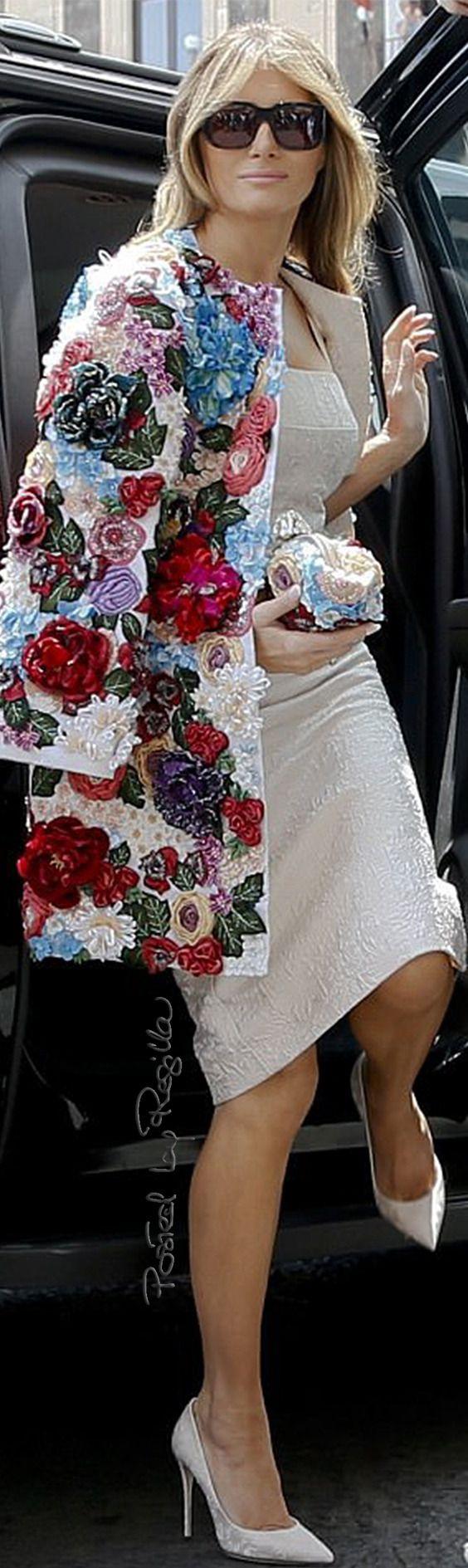 Regilla ⚜ Melania Trump in Dolce & Gabbana, Taormina, Italy. May 2017