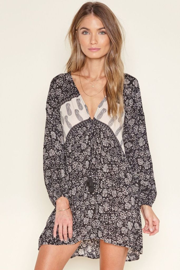 Lana Dress from Amuse Society is a black slip on dress with grey floral pattern.