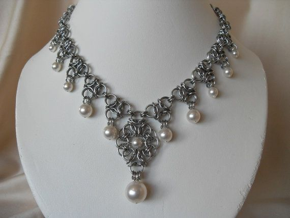 Vintage style bridal chainmaille pearl by JulasChainmaille on Etsy, £42.00