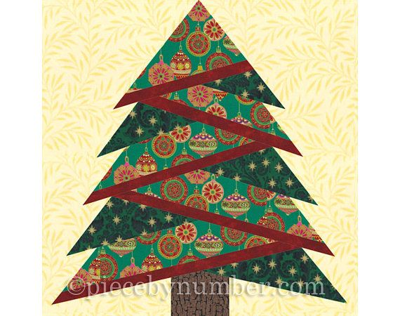 Pine Tree quilt block pattern paper piecing by PieceByNumberQuilts                                                                                                                                                                                 More