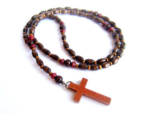 Men wood rosary necklace brown red wooden necklace men wood