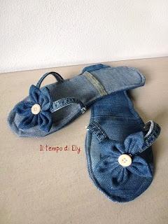 ciabatte - denim flower flip flops