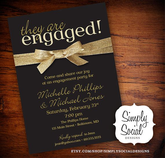Engagement Party Invitation Black and Gold Glitter Ribbon ...