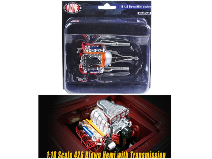 Blown 426 Hemi Engine and Transmission Replica 1/18 by Acme - Brand new 1:18 scale Blown 426 Hemi Engine and Transmission Replica by Acme.-Weight: 2. Height: 6. Width: 11. Box Weight: 2. Box Width: 11. Box Height: 6. Box Depth: 5