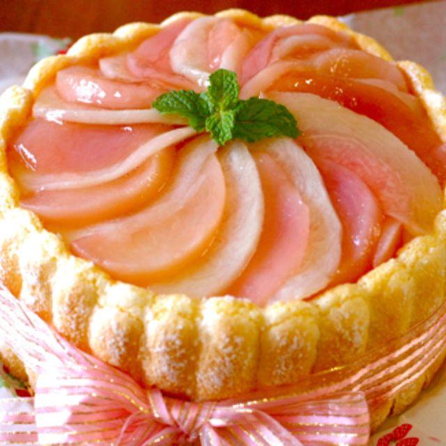 桃のムース シャルロットケーキ
