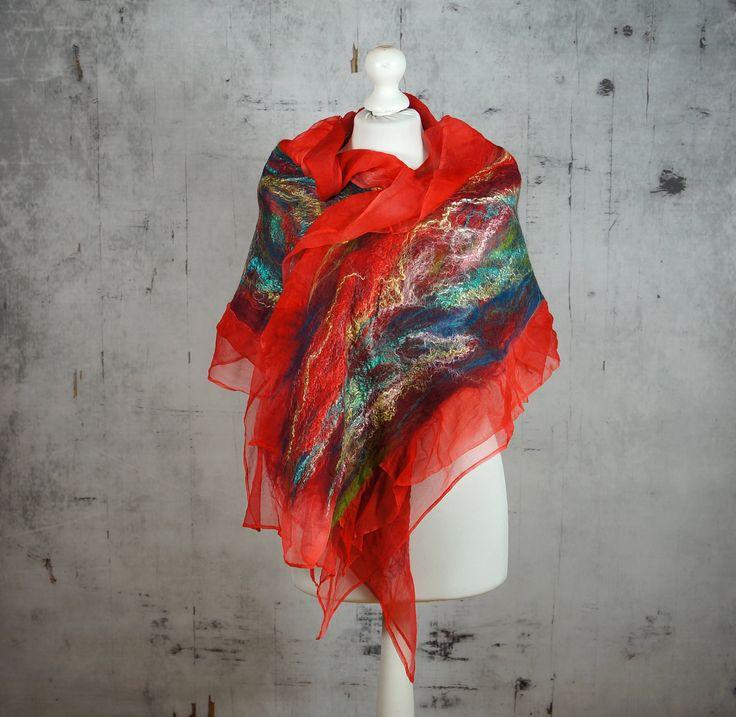 nuno felted silk scarf shawl, felted shawl, felted scarf, wool scarf, wrap scarf, red scarf- Feltmondo by Feltmondo on Etsy