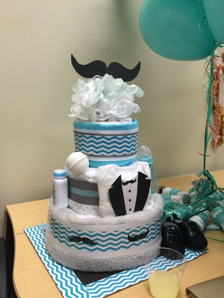 Mustache diaper cake