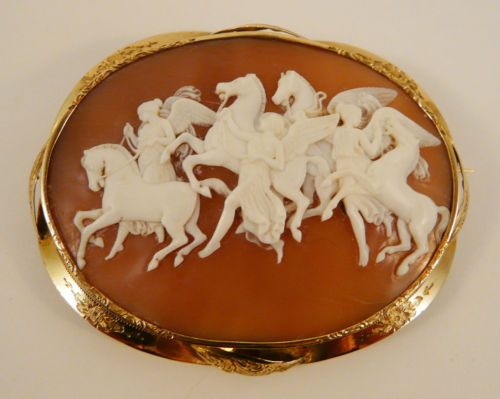 Antique Victorian shell cameo- solid gold- Large- Horae leading horses