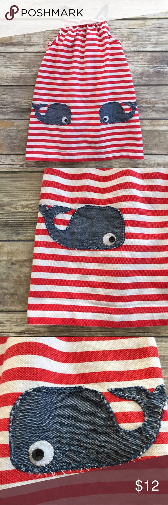 Mud Pie Whale Dress Red and white striped dress with whale appliqués on the front. Good condition for a small faded spot on the front. Dress definitely runs on the smaller side of more like a size 4/5. Mud Pie Dresses