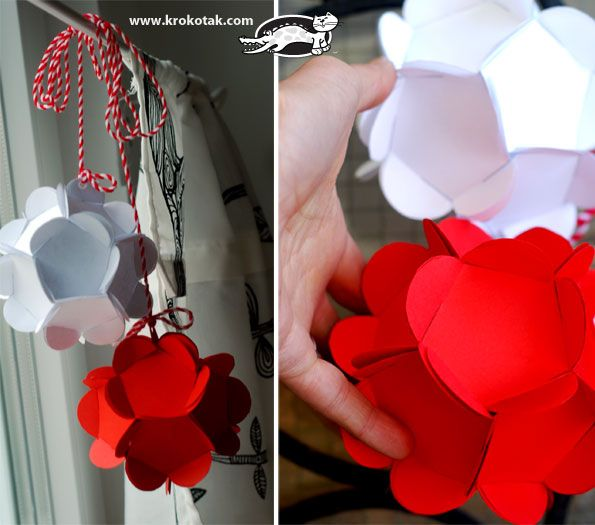 как да си направим мартеница от хартия, баба Марта: Paper Ball, Flowers Ball, Flower Ball, Flowers Paper, Ball Decorations