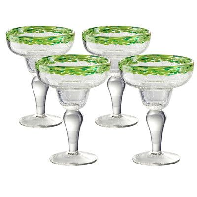 Features:  -Set includes 4 glasses.  -Mingle collection.  -Material: Mouth blown glass.  -Dishwasher safe.  -Handmade.  -Comes with assorted color fired into the rim.  Product Type: -Drinkware set/Mar