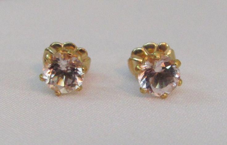 Cor de Rosa Morganite Earrings, 14K Gold Filled Stud Earrings – Lindas Jewelry Shop