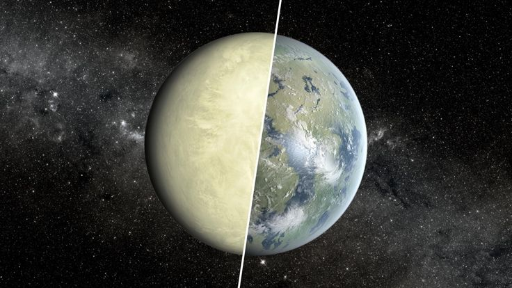 An artist's conception of a Super Venus planet on the left, and Super Earth planet on the right.