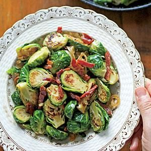 Brussels Sprouts with Ham and Caramelized Onions Recipe | MyRecipes.com