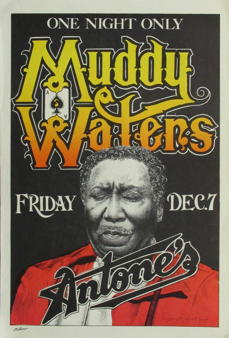 concert posters vintage | Actual Muddy Waters Original Concert Poster by Danny Garrett image