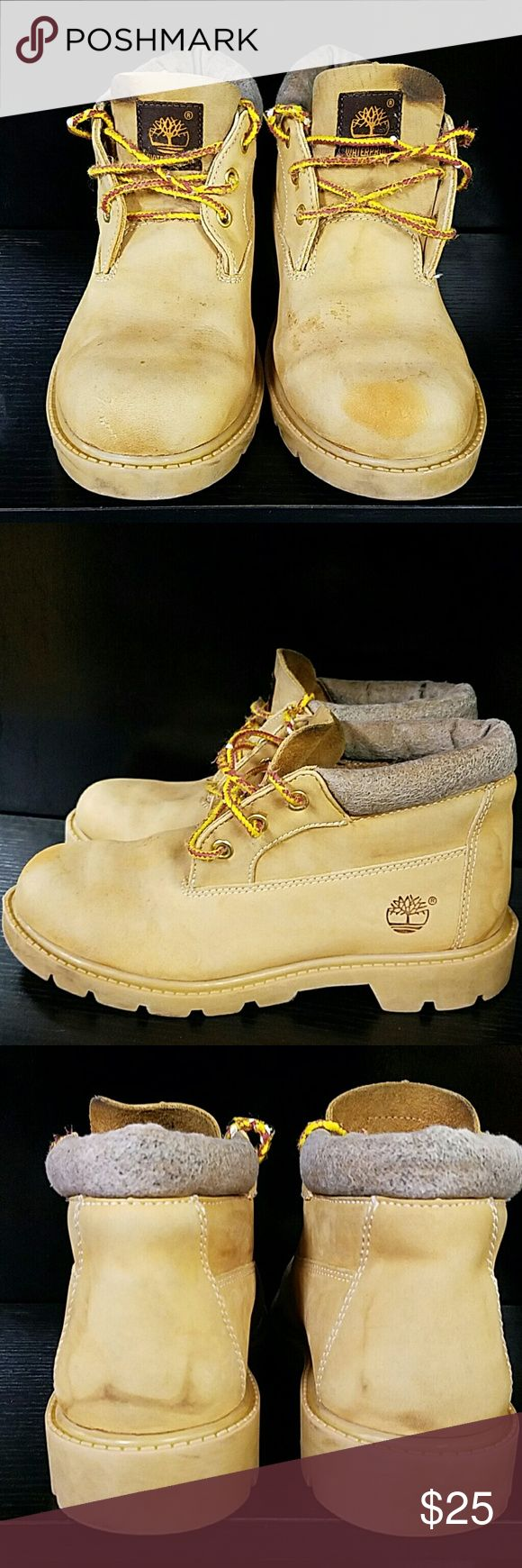 Timberland boots. Size 3.5 m These Boots are in good used condition. Please pay attention to the pictures look at everyone with great detail. The top around the boot leather is missing so what nothing to worry about doesn't take away from this shoe that shoes is still in great shape it's still in great condition and will make someone a great shoe I am pricing it very cheap. You will not regret this sale so please don't try to lowball me. Timberland Shoes Boots