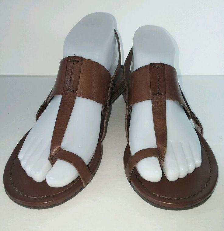 Franco Sarto Brown Leather Women's Flat Low Heel Sandals Size 6.5M  #FrancoSarto #Gladiator