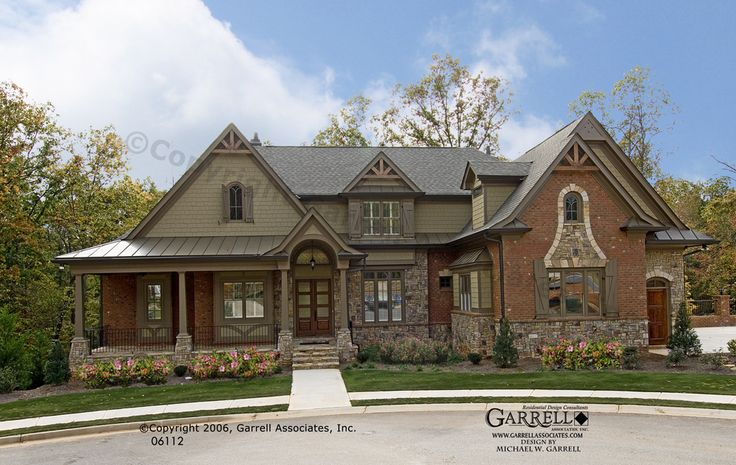 Bellevue house plan 06112 front elevation craftsman for Brick style homes