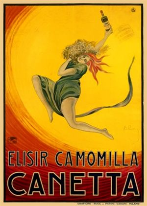 Canetta 1920 France - Beautiful Vintage Poster Reproductions. This french wine and spirits poster features a red headed woman leaping across the poster holding a bottle against a yellow,orange and red circle. Giclee Advertising Print. Classic Posters