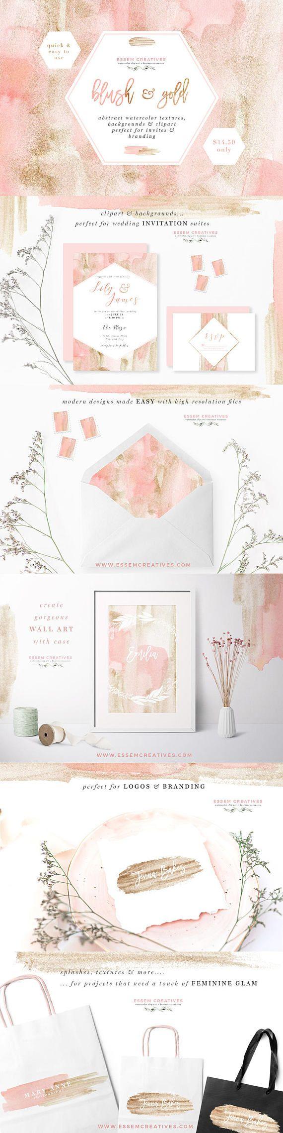 Blush and Gold Watercolor Wedding Invitation Clipart
