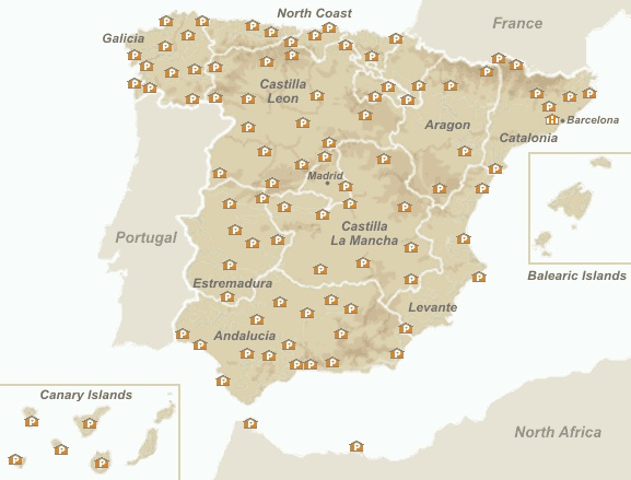 Map of the Spanish Paradores - Accommodation in Spain