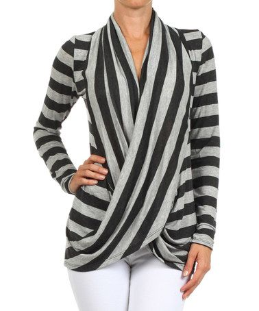 Another great find on #zulily! Charcoal & Gray Stripe Long-Sleeve Drape Top by J-Mode USA Los Angeles #zulilyfinds
