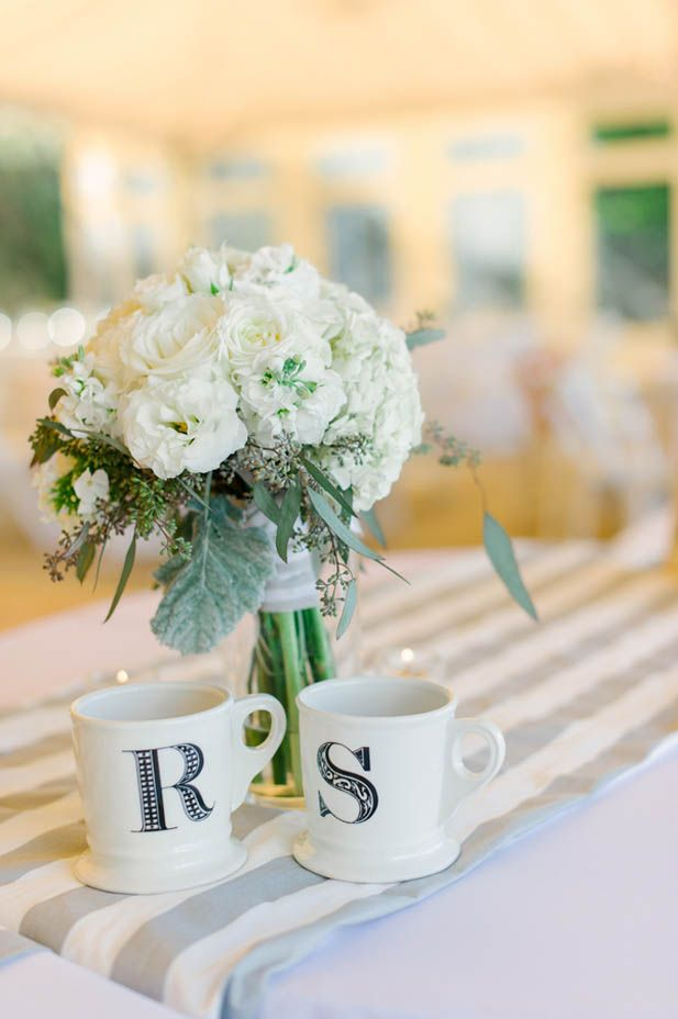 Monogrammed mugs for the bride and groom