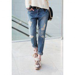 Retro Bleach Wash Broken Hole Denim Baggy Jeans