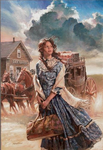 Western painting with girl and stagecoach.